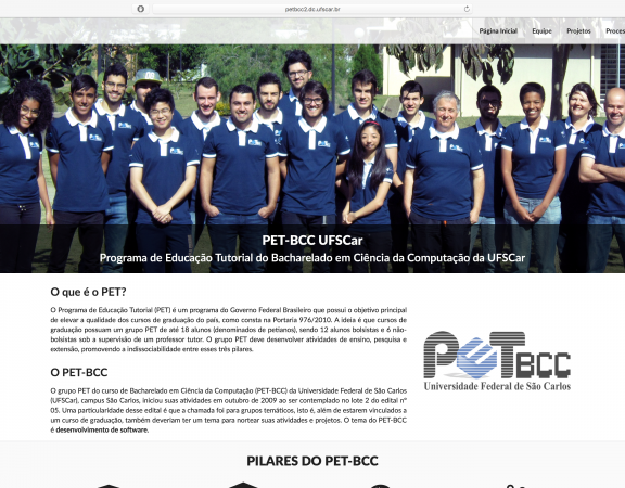 Captura de tela do novo site do PET-BCC UFSCar